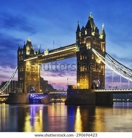 Tower Bridge in the evening, London, England