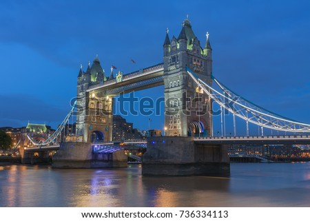 Tower Bridge in the evening, London, England.
