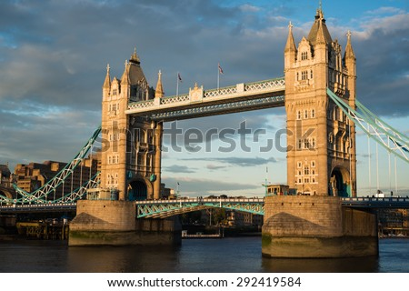 Tower Bridge in the thames at sunset.