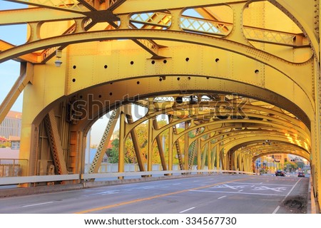 Tower Bridge - infrastructure in Sacramento, California, United States. - stock photo