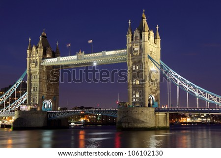 Tower Bridge, London at night. - stock photo