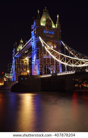 Tower bridge nightfall - stock photo