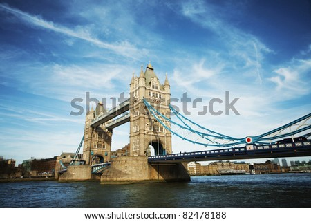 tower bridge of London on sunny day - stock photo