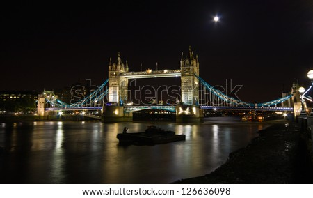 Tower Bridge of London, UK - night photo