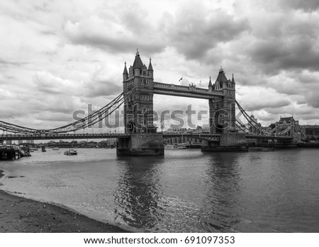Tower Bridge on a cloudy summer day in London