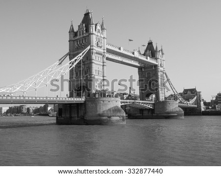 Tower Bridge on River Thames in London, UK in black and white - stock photo