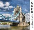 Tower Bridge on River Thames, London, UK - high dynamic range HDR - stock photo
