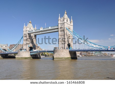 Tower Bridge, over the River Thames, London, England, UK - stock photo