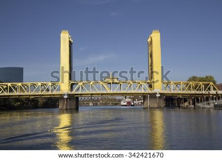Tower Bridge view from Sacramento River. Sacramento, California. - stock photo