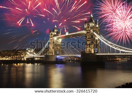 Tower bridge with firework, celebration of the New Year in London, UK - stock photo