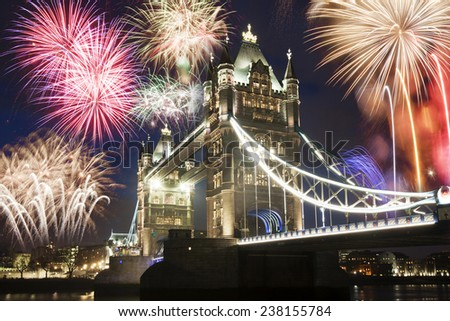 Tower bridge with firework, celebration of the New Year in London, UK l  - stock photo
