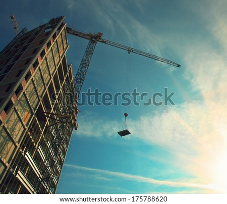 tower crane - stock photo