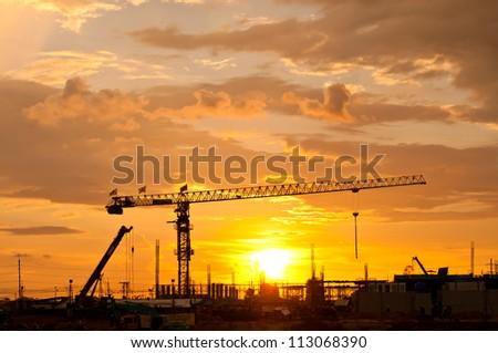 Tower crane,Construction site - stock photo