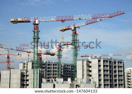Tower Cranes At  Work Site