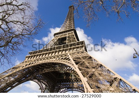 tower eiffel of France seen from an angle inferior - stock photo