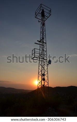 Tower in sunset