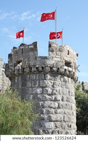 Tower in the medieval Castle of St Peter in Bodrum, Turkey. Built by the Knights Hospitaller of Rhodes. - stock photo