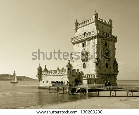 Tower of Belem (Torre de Belem) - Lisbon, Portugal (stylized retro) - stock photo