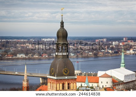 Tower of Cathedral of Riga City, Latvia - stock photo