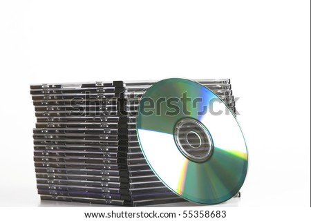 tower of cd dvd case  on white background