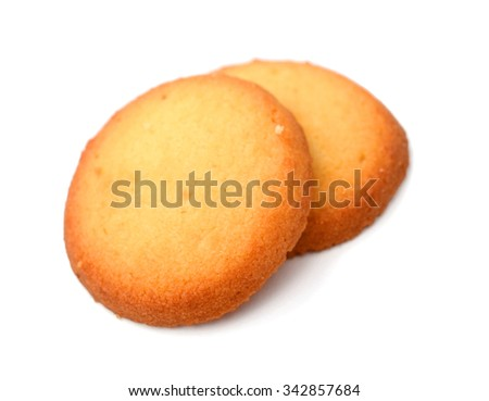tower of chocolate cookies isolated on a white background - stock photo