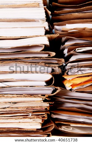 Tower of dirty and old office paper - stock photo