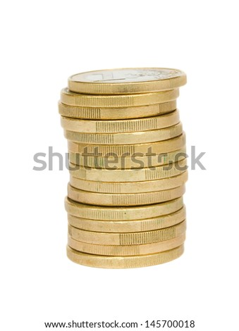 tower of euro coins isolated on white background - stock photo