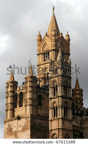 Tower of famous Cathedral of Palermo in Sicily, Italy
