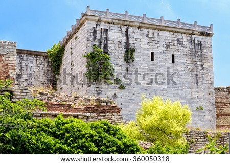 Tower of famous Golden Gate of Constantinople in Istanbul, Turkey - stock photo