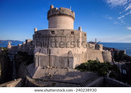 Tower of Fortress Dubrovnik, Croatia - stock photo