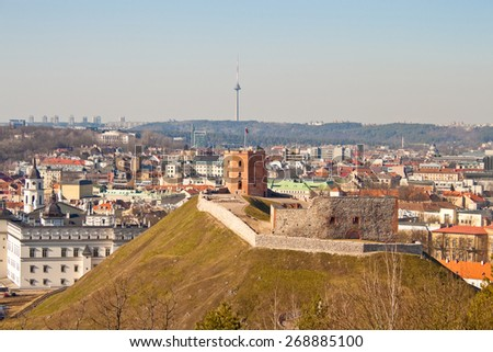Tower of Gediminas on the hill, view of Vilnius, Lithuania - stock photo