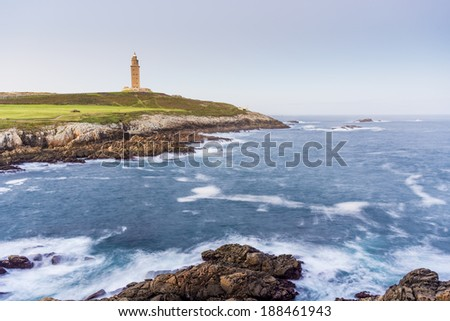Tower of Hercules, the almost 1900 years old and rehabilitated in 1791 55 metres tall structure is the oldest Roman lighthouse in use today and overlooks the Atlantic coast of Spain from A Coruna.