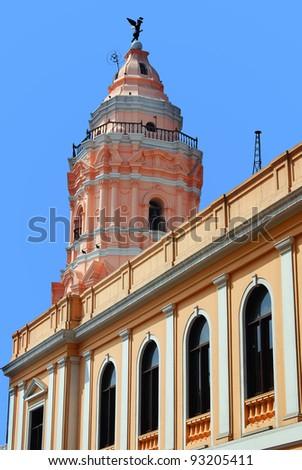 Tower of Iglesia de Santa Rosa, Lima Peru - stock photo