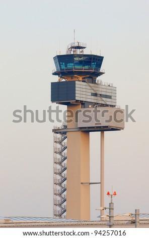 Tower of International Airport Düsseldorf, Germany - stock photo