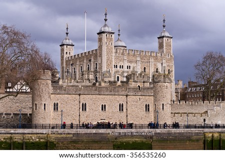 Tower of London, England from the Thames River