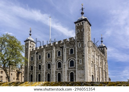 Tower of London (Her Majesty's Royal Palace and Fortress) - historic castle on the north bank of the River Thames in central London - a popular tourist attraction. Architectural fragments. - stock photo
