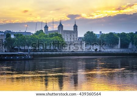 Tower of London illuminated at summer night. - stock photo