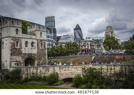 TOWER OF LONDON, LONDON, ENGLAND-19th AUG 2015:-The tower of london has served many purposes from royal residence to army prison, currently housing the crown jewels.