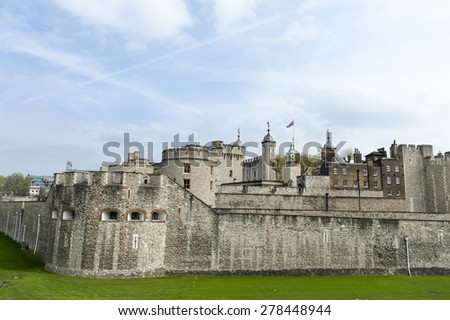 Tower of london on the thames river in england - stock photo