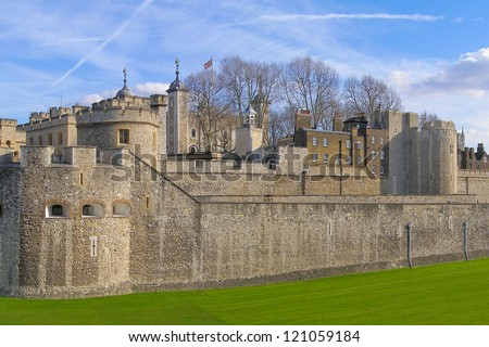 Tower of London panorama, Tower Hill, London - stock photo