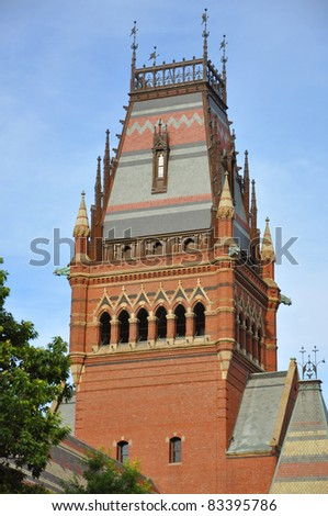 Tower of Memorial Hall in Harvard University, Cambridge, Massachusetts, USA - stock photo