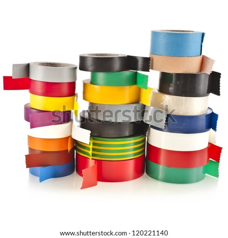 Tower of Multicolored insulating tapes roll  isolated on white background - stock photo