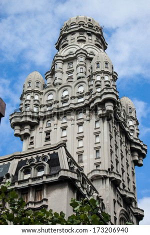 Tower of old building in Montevideo, Uruguay - stock photo