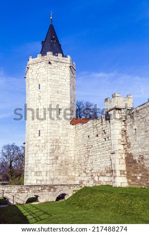 tower of old city wall in Muehlheim under blue sky