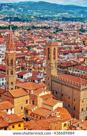 Tower of palazzo vecchio in florence top view to roofs old town - stock photo