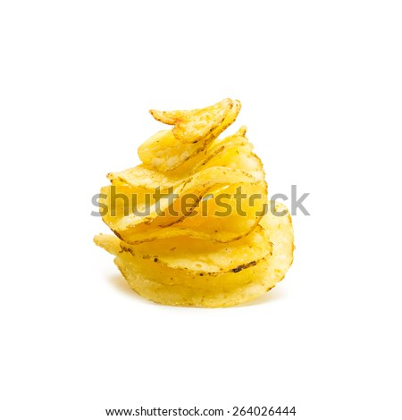tower of potato chips isolated on white