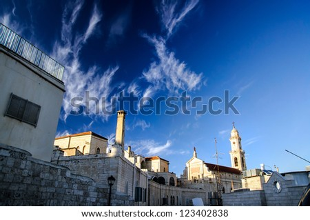 Tower of Salesian Church in Bethlehem, Christmas time - stock photo