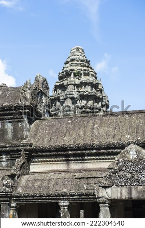 Tower  of the Angkor Wat, Cambodia, the largest religious monument in the world, UNESCO World Heritage