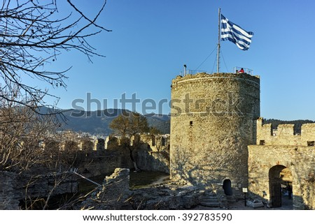 Tower of the Byzantine fortress in Kavala, East Macedonia and Thrace, Greece - stock photo