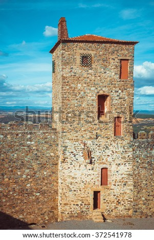 Tower of the castle of Braganza. - stock photo